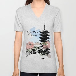 Kyoto Temple Japan Unisex V-Neck