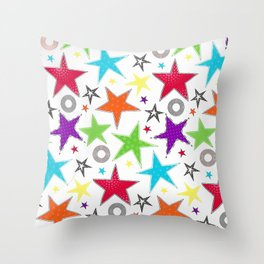 Trendy colourful star Throw Pillow