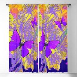 PURPLE AMETHYST  BUTTERFLIES GOLDEN FLORALS ABSTRACT Blackout Curtain