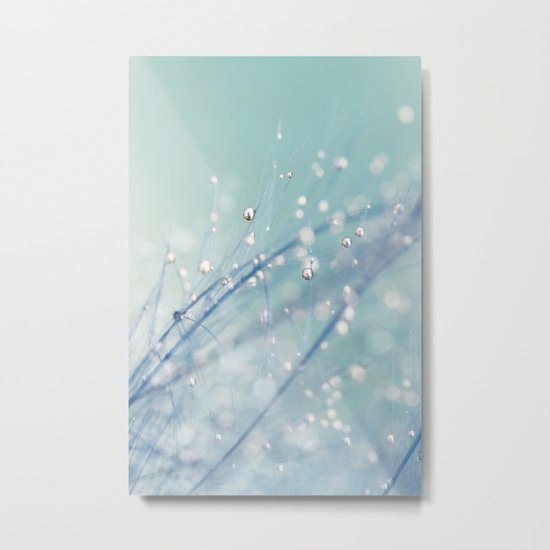 Dreamy Feather Drops Metal Print