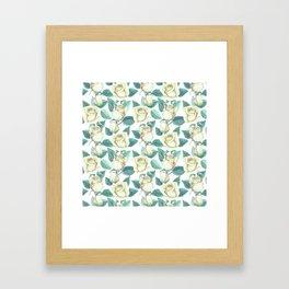 Elegant ivory white yellow green botanical roses floral Framed Art Print