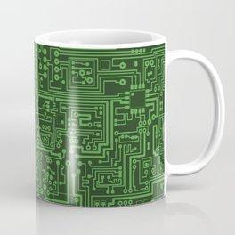 Circuit Board // Light on Dark Green Coffee Mug