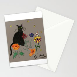Black cat Le Chat Stationery Cards