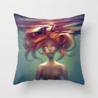 mermaid Throw Pillows featuring Mermaid by loish