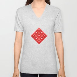 Geometric pattern with snowflakes.White snowflakes on red Unisex V-Neck