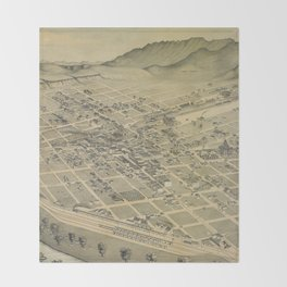 Vintage Pictorial Map of El Paso Texas (1886) Throw Blanket