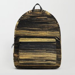 Elegant abstract black faux gold brushstrokes Backpack
