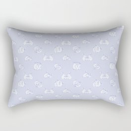 Bunny Threesome - Blue Print Rectangular Pillow