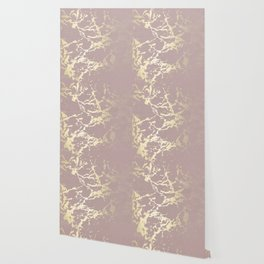 Kintsugi Ceramic Gold on Clay Pink Wallpaper