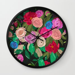 Rose, chamomile, buds, peony floral pattern black background Wall Clock