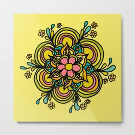 Flower Power Mandala Positive Vibes Flow Freely Metal Print