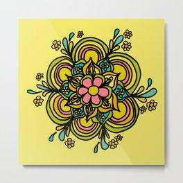 Flower Power Mandala Positive Vibes Flow Freely Metal Print