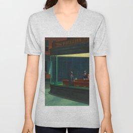 Edward Hopper's Nighthawks Unisex V-Neck