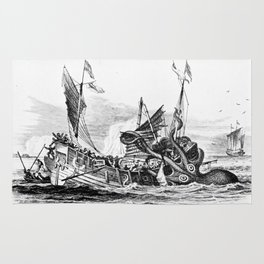 1810 vintage nautical octopus steampunk kraken sea monster drawing print Denys de Montfort retro Rug