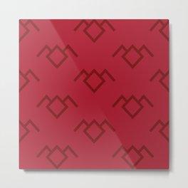 Twin Peaks Owl Petroglyph in Curtain Red Metal Print