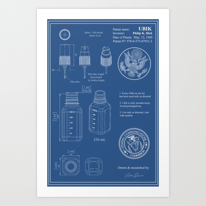 Ubik blueprint art print by daniramos society6 ubik blueprint art print malvernweather Choice Image