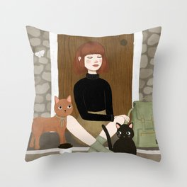cats & coffee Throw Pillow