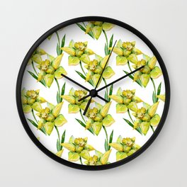 Spring hand painted yellow green watercolor daffodils floral Wall Clock