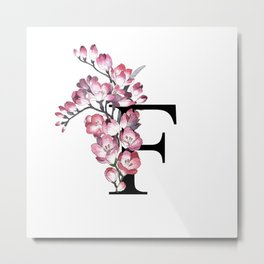 Letter 'F' Freesia Flower Typography Metal Print