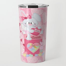 Valentines Bunny and Sweet Heart Candy Travel Mug