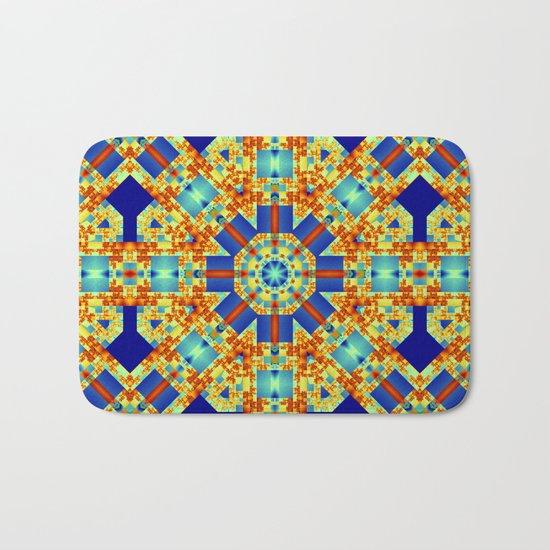 A touch of Escher, geometric pattern kaleidoscope Bath Mat