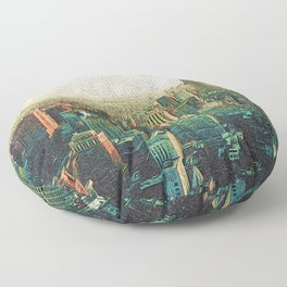 New York City Skyline Vang Gogh Style Oil Painting Floor Pillow