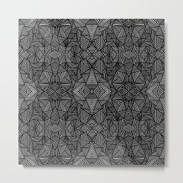 black and white abstract lines and triangles Metal Print