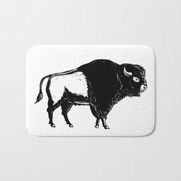 American Buffalo Side Woodcut Black and White Bath Mat