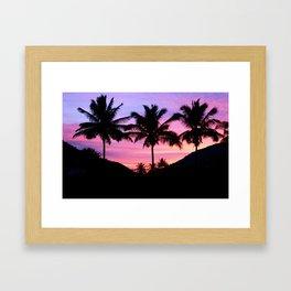 Sunset Palm Trees Framed Art Print