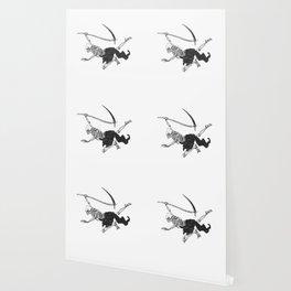 Flying reaper - gothic grim - skull cartoon - black and white Wallpaper