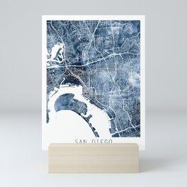 San Diego Map Navy Blue Watercolor by Zouzounio Art Mini Art Print