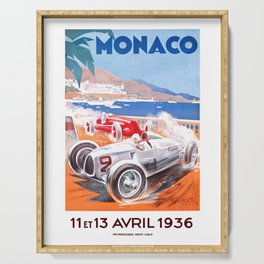 1936 Monaco Grand Prix Race Poster  Serving Tray