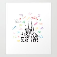 black and white character castle with rainbow signatures Art Print