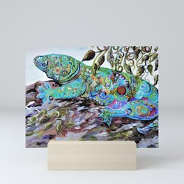 New Caledonia Lizard Art Deco Style Mini Art Print
