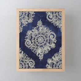 Cream Floral Moroccan Pattern on Deep Indigo Ink Framed Mini Art Print