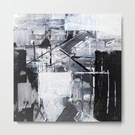 Black & White Abstract Painting Metal Print