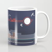 seahawks Mugs featuring Seattle Skyline // Retroscape by Mazmanian