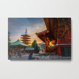 Hondo and pagoda at sunset in Senso-ji temple, Tokyo, Japan Metal Print