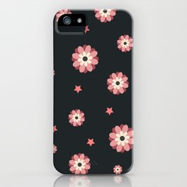 Elegance and cute pattern with pink flowers and stars iPhone Case