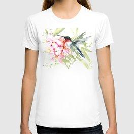 Hummingbird and Plumeria Flowers T-shirt