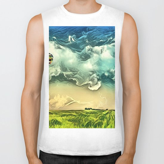 Air Balloon in the Sky with Clouds over the Landscape Biker Tank