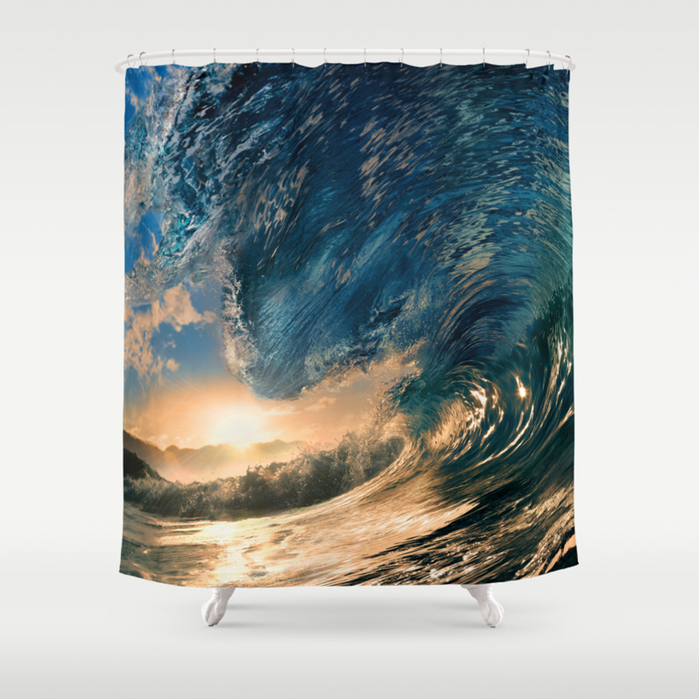 Beach - Waves - Ocean - Sun - Clouds - Blues - Sun… Shower Curtain by Rosemarya CTN4381730