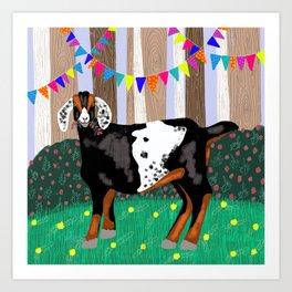 Goat Having a Woodland Party Art Print