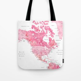 Pink detailed watercolor world map with cities Azalea Tote Bag
