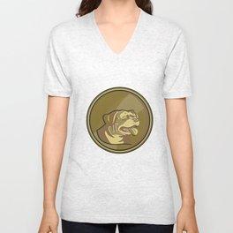 Rottweiler Guard Dog Head Gold Medallion Retro Unisex V-Neck