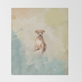American staffordshire terrier puppy Sketch Paint Throw Blanket