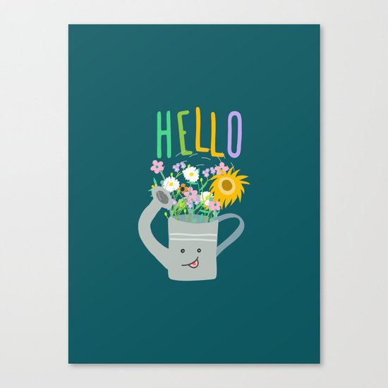 Happy Day- Watering Can Canvas Print