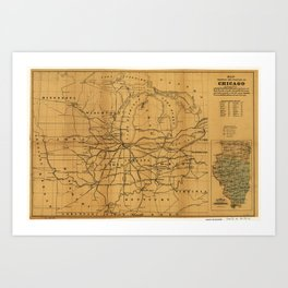 Railroad Map Chicago & Surrounding Midwest (c. 1850) Art Print