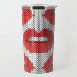 Lips pattern - white Travel Mug