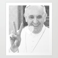Pope Francis Peace'n'Love Art Print